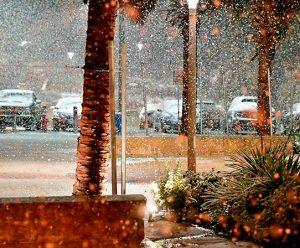 Unexpected weather snow in San Antonio